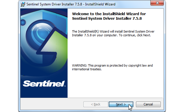Sentinel Protection Installer, Start screenshot
