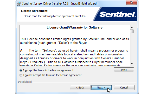 Sentinel Protection Installer, License Agreement screenshot